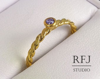 Yellow Gold Flat Twisted Amethyst Ring, Purple 2 mm CZ February Birthstone Lab Amethyst 24K Gold Plated Ring, Gold  Cubic Zirconia Ring