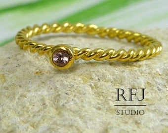 Natural Pink Tourmaline Rope GF Ring, 24K Yellow Gold Plated 2 mm Round Cut October Birthstone Ring, Braided Genuine Tourmaline Gold Ring