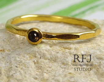 Natural Smoky Quartz Faceted GF Ring, 24K Yellow Gold Plated 2 mm Round Cut Smokey Quartz Stackable Ring, Smoky Quartz Gold  Stack Ring