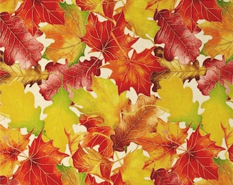 "Leaves Fabric: Harvest Bounty Leaf Packed Metallic Ecru Cream by Quilting Treasures 100% cotton fabric by the yard 36""x43"" (N642)"