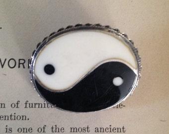 Vintage sterling enamel yin yang brooch