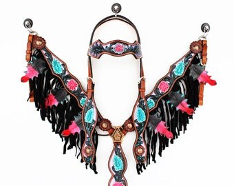 Purple Black Hand Painted Floral Fringe Bling Western Leather Cowboy Show Horse Bridle Headstall Breast Collar Tack Set