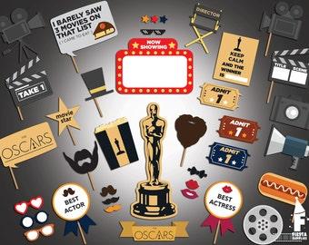 Movie night Photobooth Props - Movie Awards Photo Booth Props - Movie Photobooth Props - Hollywood Party Printable Props -  Cinema Props