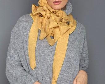 Lolly - Wheat Boiled Wool Ladies Scarf, Winter Warm, Soft Wool, Button and Go
