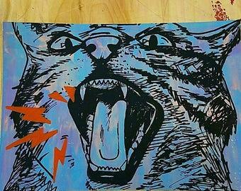 Angry Cat screenprint (blue)