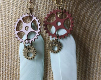 "steampunk with pen and gears ""9"" earrings"