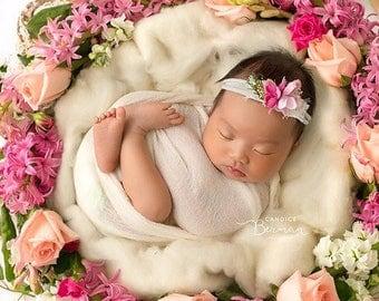 Tabatha / Newborn Headband Prop / Flower Headband