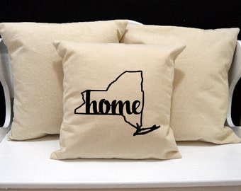 New York Home Pillow, New York Pillow, home pillow, pillow gift, New York gift, Envelope Pillow Cover, state pillow, NY pillow, 20x20 pillow