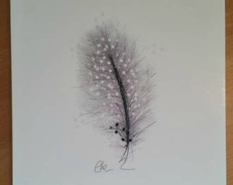 Feather card // feather greetings card // feather birthday card // bird feather drawing // grey feather // feather drawing // feather art