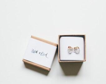 Raw Quartz Crystal Earring Studs - raw stone - minimalist earrings - rough stone earrings - brides maid gift - bridal party
