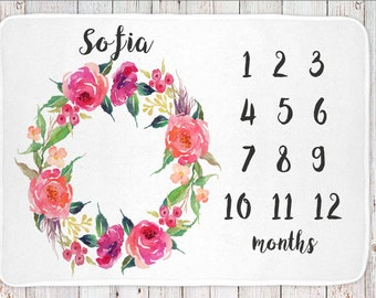 Monthly milestone baby blanket personalized, girls floral print (BB106)