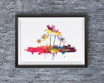 Palms Poster -  Hawaii Print - Island Poster - Colorful Art Illustration - Wall Art - Home Decor