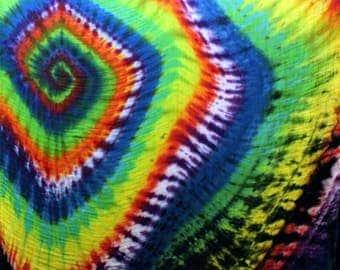"Rainbow spiral tie dye bamboo blanket 47""x47"""