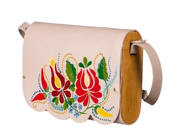 Leather handbag woman clutch exclusive handbag painting bag beige crossbody nude handbag handmade bag mini handbag wood bag small handbag