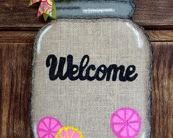 SALE***Mason Jar Burlap Door Hanger
