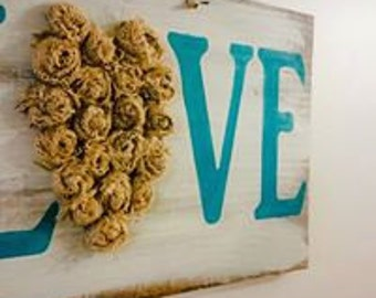 LOVE | love with burlap heart | burlap heart | love sign | mantel love sign | wall love decor | rustic living | rustic sign | country decor