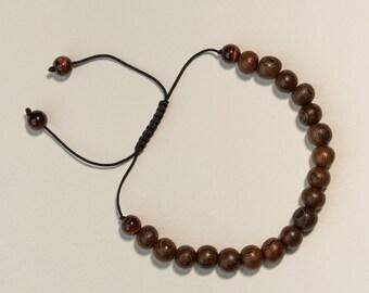 Adjustable Wood and Tiger Eye Bracelet