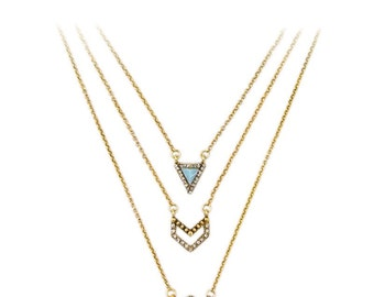 Geometric Gold & Crystal Layered Necklace
