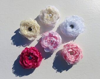 Silk and Lace Fabric Flower Hair Barrettes // Fabric Flower Wedding Hair Accessory // Flower Alternative