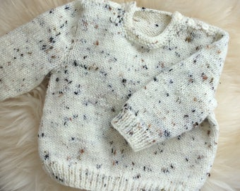 Tweedy Baby Jumper, Hand Knit Baby Jumper