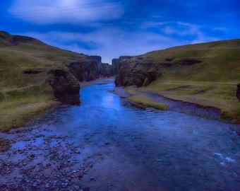 Fjaðrargljufur Canyon, Metal Print, Twilight, Iceland, Christmas Gift, Night Sky, Large Wall Art, Blue, Fine Art Photography - Twilight
