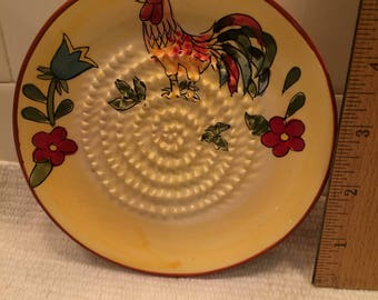 French Ceramic Yellow/Red Rooster Garlic Grater
