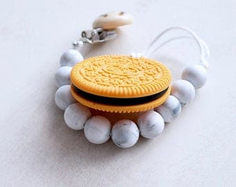 Oreo Pacifier Clip    Oreo Teether    Teething Toy    Golden or Marble Oreo Pacifier Clip    Silicone Teether