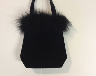 90's Black fuzzy velvet hand bag