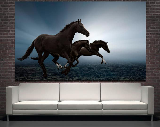 Large three running horses fine art photography wall decor canvas print set of 3 or 5 panels, horse wall art nature poster canvas home decor
