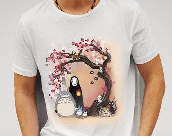 Studio Ghibli Characters Cherry Blossom Tree Valanetine's gift boyfriend - WHITE T-SHIRT