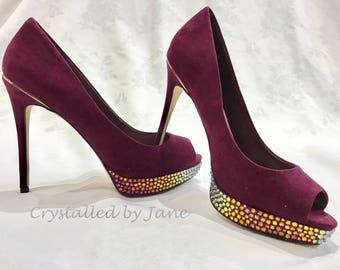Bespoke Custom Swarovski Crystal Platform Heels Shoes Pumps - we crystal YOUR shoes!