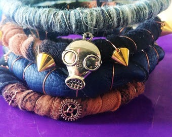 Handmade post-apocalyptic bracelets | Steampunk bracelets | Wire wrapped | Leather bracelets | Textile fabric art bracelets | Mad Max style