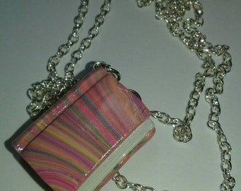 Pink Tye-Dye/Rainbow Book Necklace