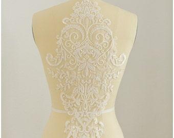 Illusion Back Lace appliqué, Flower appliqué, Lace Flower, Lace patch, Wedding dress appliqué, Lace ornament, Large lace Applique -(CLA0116)