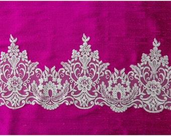 Very SOFT, elegant lace Trim, Alencon Lace Trim, Bridal Lace, Chantilly Lace, Ornament Lace trim, Garter lace Lingerie Lace - (CLT910X)