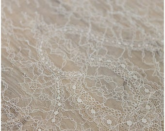 Chantilly Lace Fabric, Lingerie Lace, Eyelash wedding lace fabric, Bridal Lace Fabric,Soft, Evening dress Lace, Off-White - (CHF10-W)