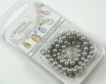 Swarovski Elements Crystal Pearls Light Gray 4mm 100 Beads