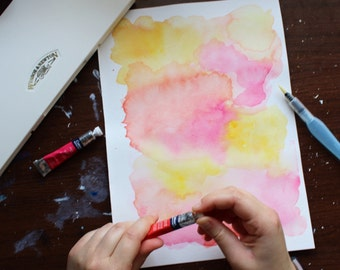 Handmade Pink Yellow Red Original Abstract Watercolor Painting Unframed Art On Watercolor Paper by Allie Bigoness