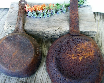 Rusted Fry Pans, Rustic Home Decor, Altered Art Supplies, Metal Supplies, Assemblage, Metal Pieces, Rusty Metal, Old Kitchen Pans #17-5-2