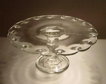 Indiana Glass Clear Teardrop Cake Stand, Pedestal Cake Plate, Cupcakes, Dessert