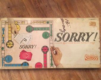 1964 Vintage Sorry! Parker Brothers Slide Pursuit Game