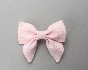 Baby Pink Hair Bow, Pale Pink Hair Clip, Light Pink Sailor Bow, Baby Pink Hair Bow, Toddler Pink Hair Bow, Girls Hair Clips, Girl Hair Bow