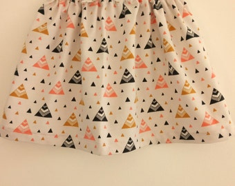 Girl skirt size 18 months ~ Jersey Chevron gold and pink triangles