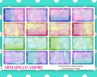 Watercolor Half Boxes {16 Fabulous Matte or Glossy Planner Stickers} | #16-163
