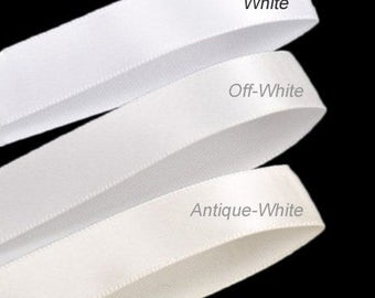 "3 Yards - 2"" Wide Double Faced Satin Ribbon for Sash Bow. Color White, Off-White, Antique-White"