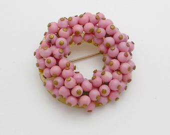 Vintage Pink Glass Bead Hand-Wired Circle Brooch/Pin
