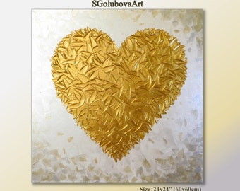Gold heart painting Love painting Gift to thank Wedding gift Modern art Wall decor Abstract painting heart gift for her Palette knife art