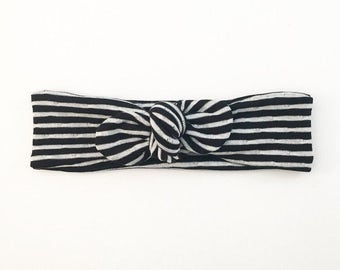 Black and White Striped Headband - Top Knot Head Band - Baby Hair Band - Baby Head Band - Baby Head Wrap - Hair Accessories