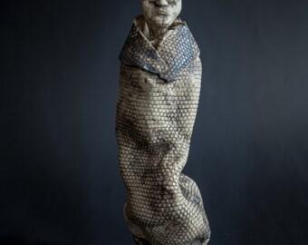 Clairvoyant . figures of human uniq ceramic sculpture handmade clay homedecor