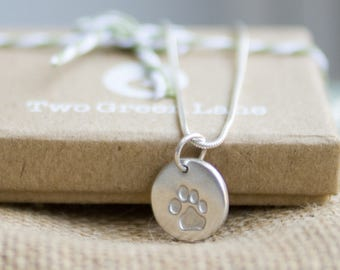 Fine Silver paw print necklace with your pet's actual print
